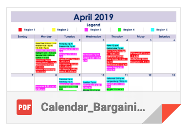 April Local Bargaining Tour meeting schedule