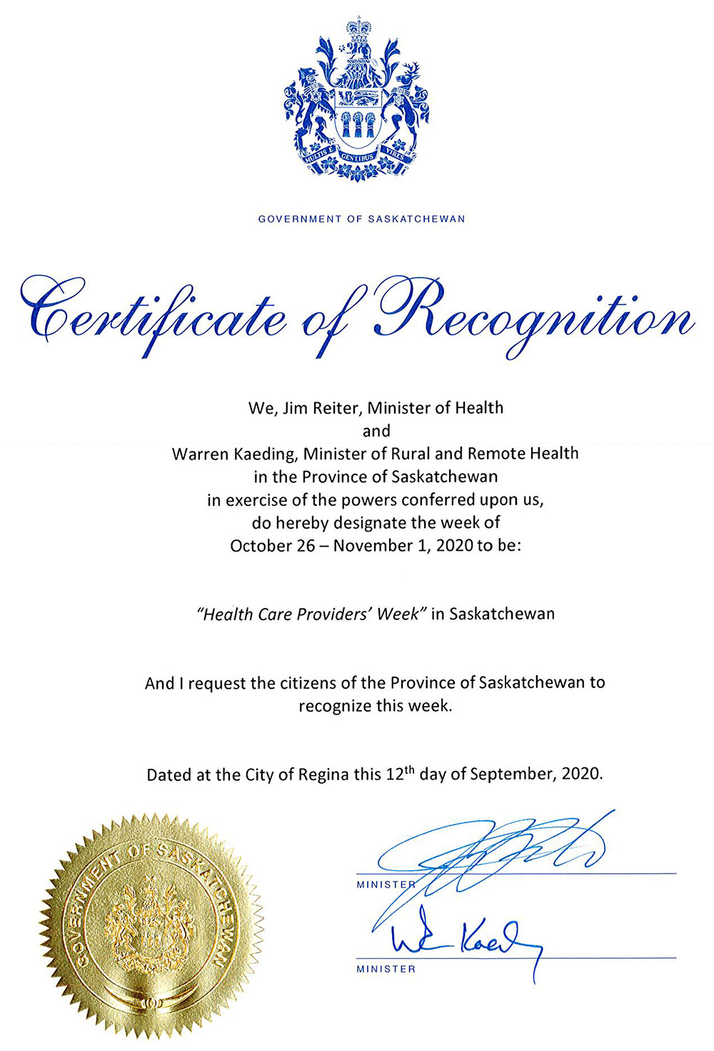health care providers week proclamation 2020